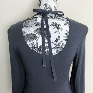 Sky Tops - SKY Beaded Tie Back Neckline Flutter Sleeve Top